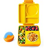OmieBox - 3 Compartment Bento Lunch Box + Thermos Food Jar for Kids - Leak-Proof and Insulated - Two Temperature Zones for Hot & Cold Food (Sunshine)