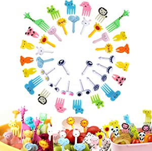 Food Picks 40PCS,Animal Fruit Picks,Bento Box Picks, LKAKA Mini Cartoon Animal Food Toothpicks, Lunch Bento Forks Picks for Kids