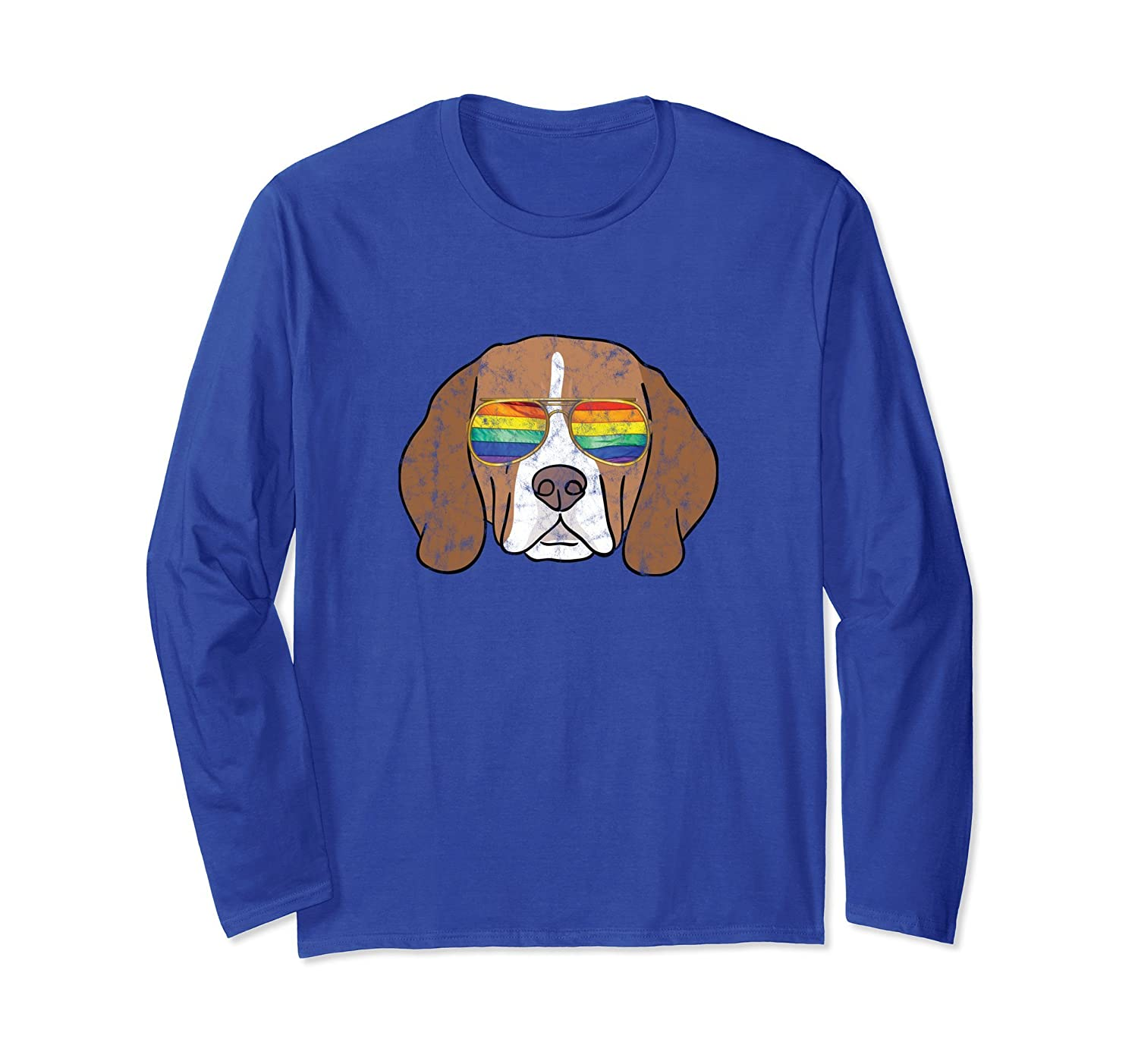 Beagle Gay Pride Long Sleeve Tee Men Gay LGBT Rainbow Flag-alottee gift