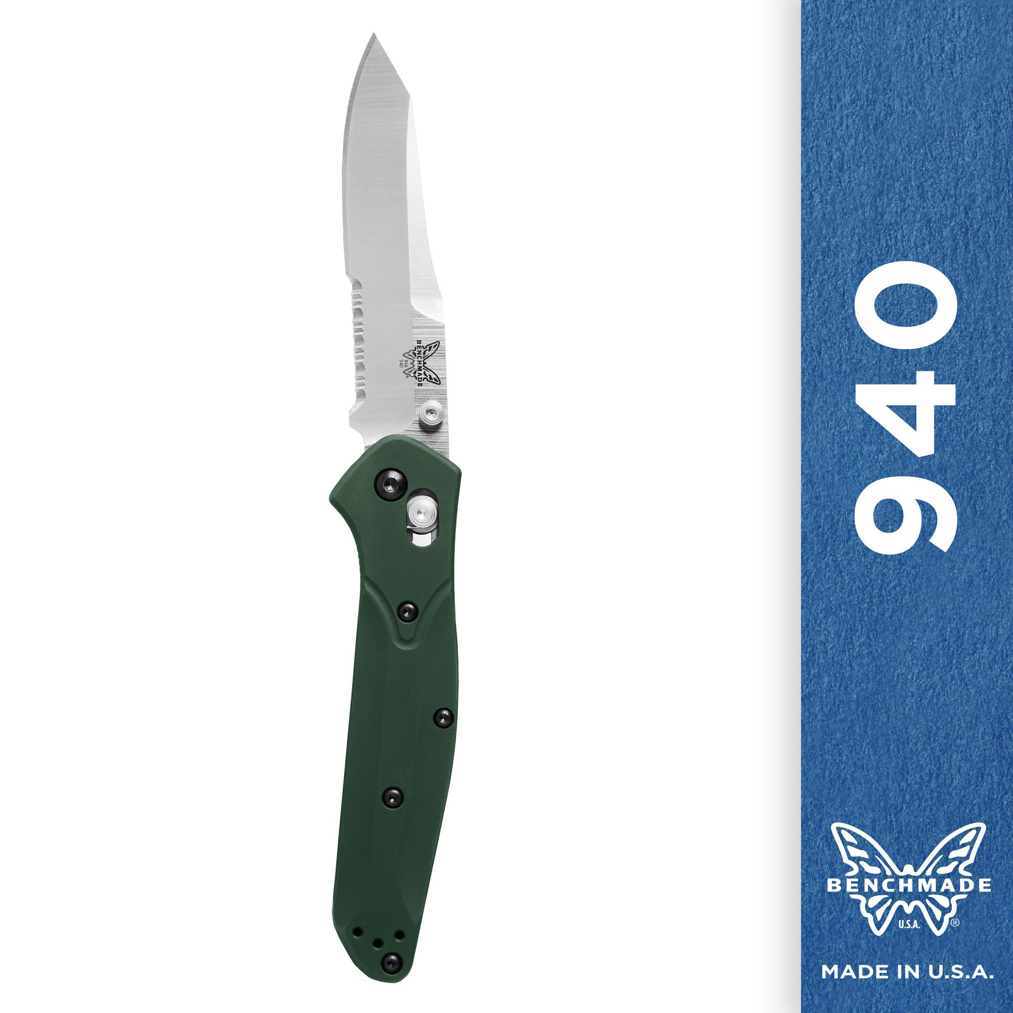 Benchmade Knife 940S ComboEdge Satin Blade Green Handle by Benchmade