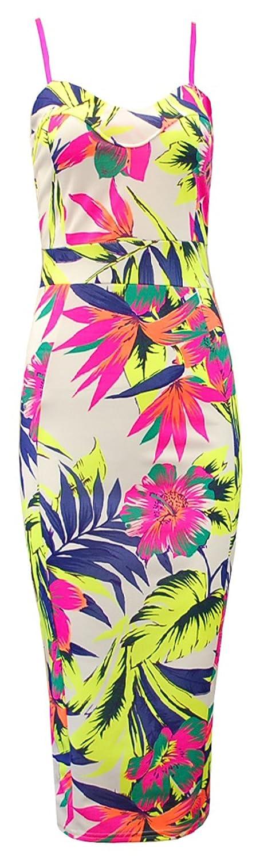Crazy Girls Womens Celebrity Multi Floral Print Ladies Bodycon Midi Dress