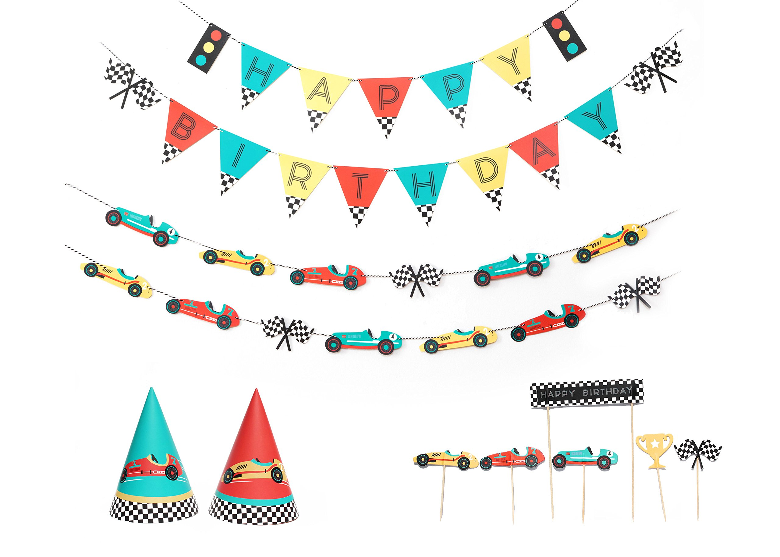 Vintage Race Car - 12 Guest Decor Party Set   Party Package   Theme Birthday Party   Banner, Garland, Cupcake Topper, Party hat