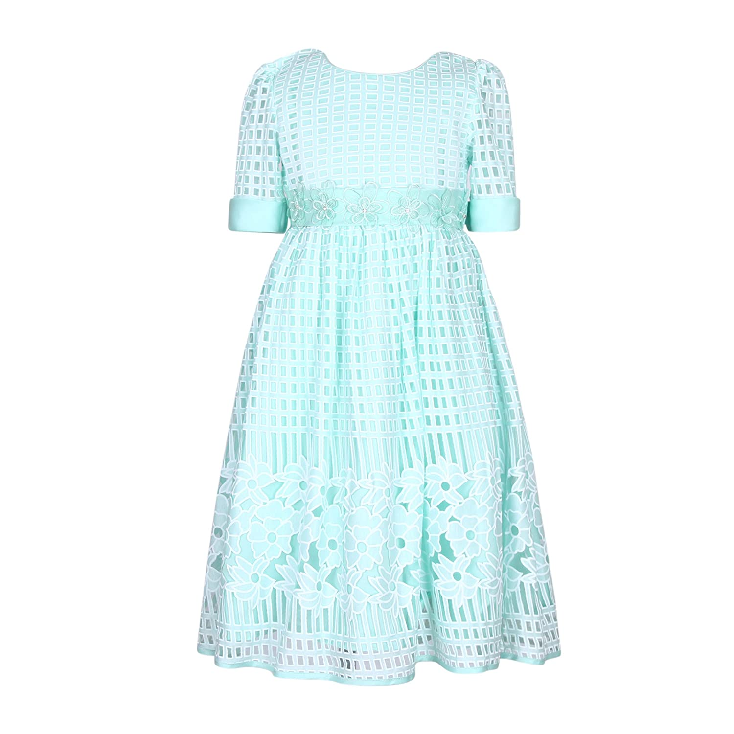 Richie House Girls' Princess Solid Dress with Belt Size 3-10Y RH2603
