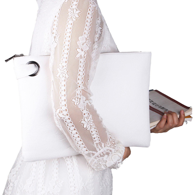 Aladin Oversized Clutch Bag Purse, Womens Large leather Evening Wristlet Handbag (White)