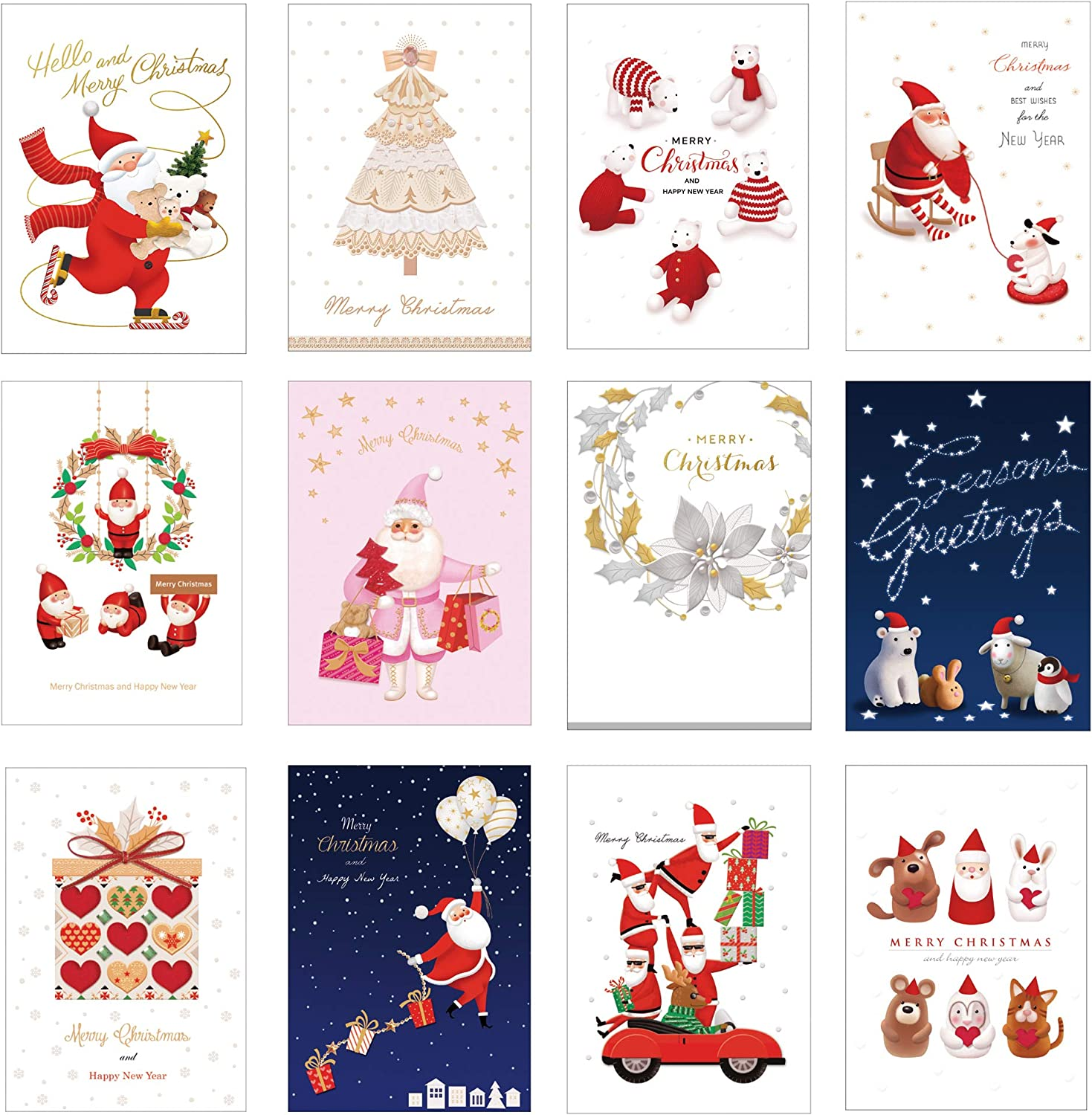 Set of 60 MAUMDAMA Christmas Bulk Postcards - Greeting messages for School, Kids, Business, Office and More - 12 Different Designs, 5 of Each - 4 x 6 Inches - Made in KOREA (Christmas)