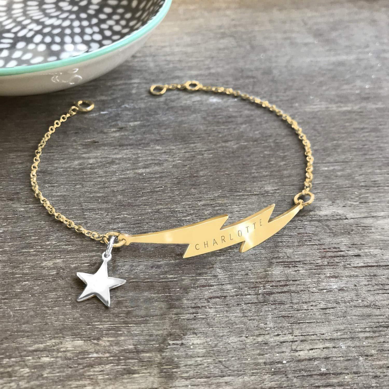 Gold Little Lightning Bolt and Hoop Earrings celestial jewellery hoop earrings anniversary gift Christmas gift birthday gift