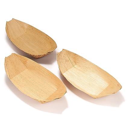 Amazon.com: bamboomn marca – Hojas de bambú Barco Platos ...