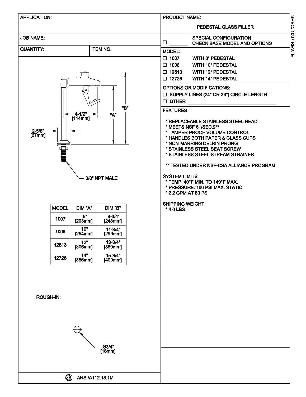 Fisher 12726 Glass 14 Pedestal Filler Faucet