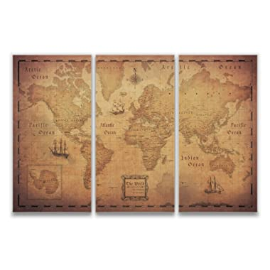 Conquest Maps Map with Pins - World Travel Map Golden Aged Style Push Pin Travel Map Cork Board, Track Your Travels Pinable Canvas Map with Cork Backing, Internal Framed (48 x 32 Inches (3 Panel))
