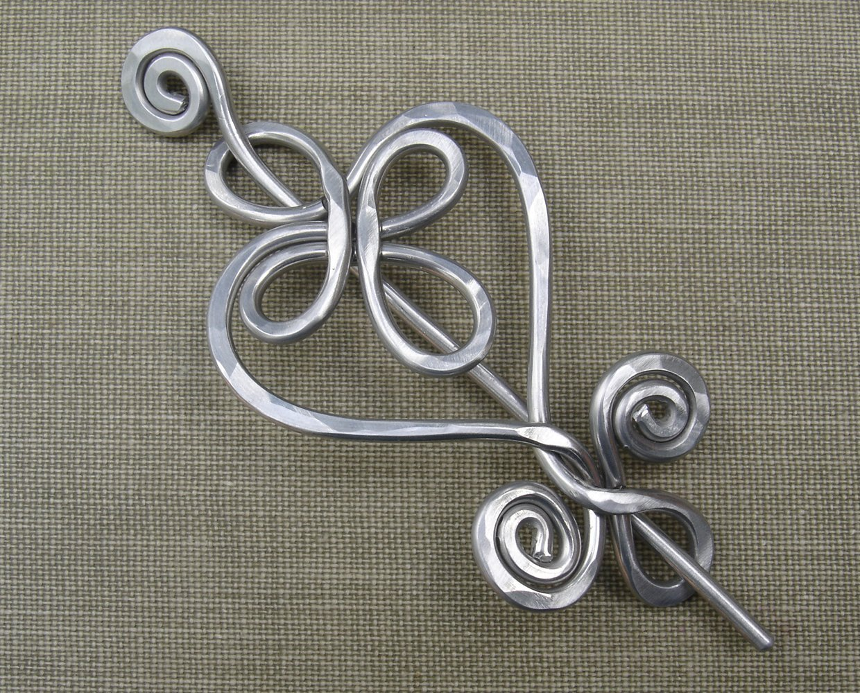 Celtic Heart Aluminum Shawl Pin, Sweater Brooch, Scarf Pin, Knitter Gift Handmade