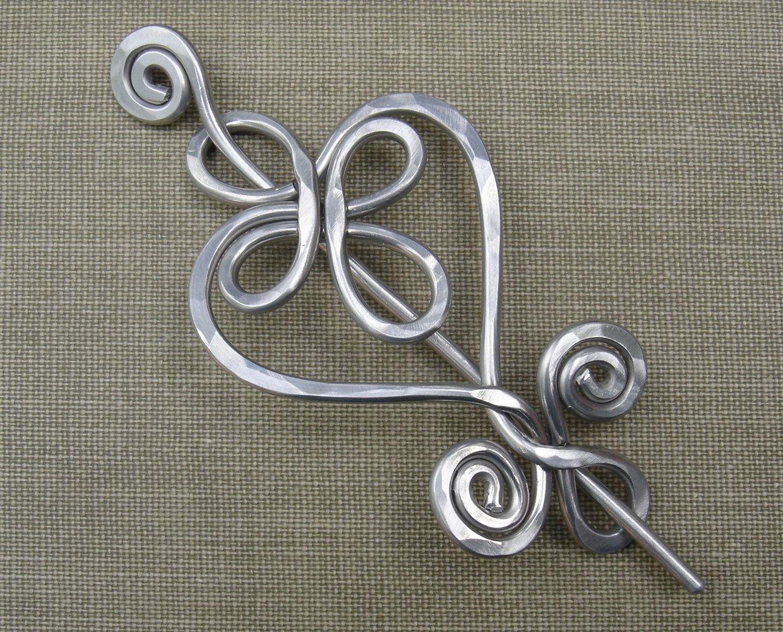 Celtic Heart Aluminum Shawl Pin, Sweater Brooch, Scarf Pin, Knitter Gift Handmade