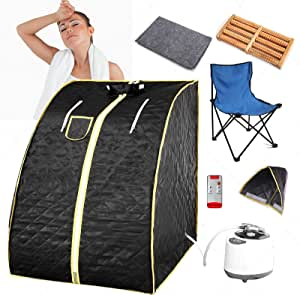 Portable Steam Sauna,Portable Home Sauna with 3L steam generator,Remote Control,Sauna Chair,9-Gear Temperature and 99 Minute Timer, Foldable Personal Sauna Tent for Relaxation