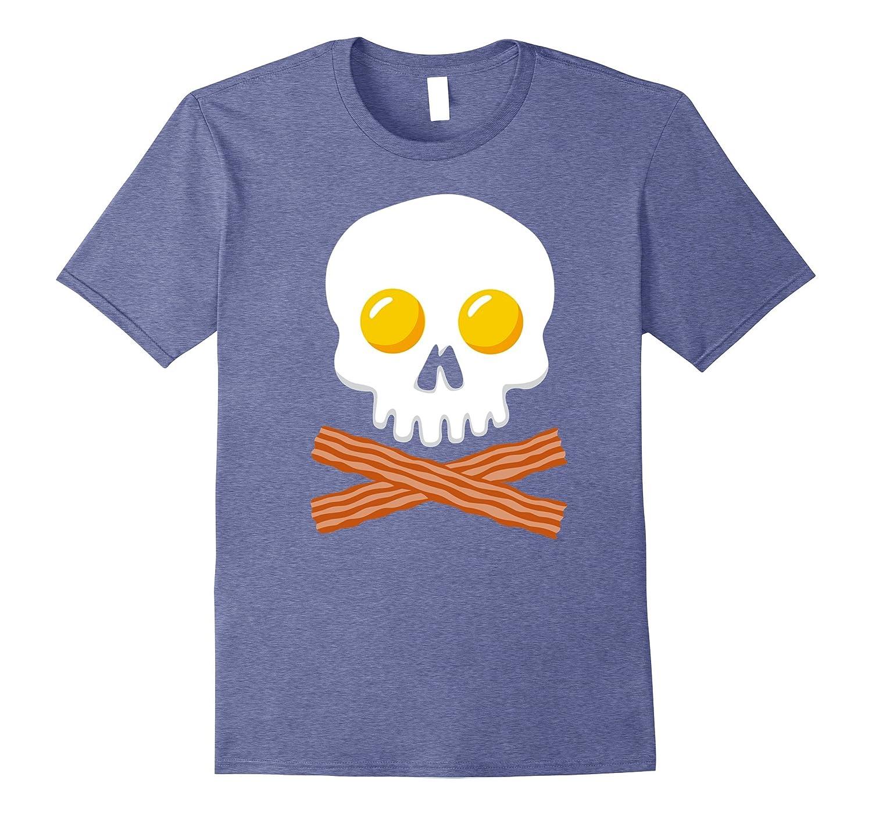 Breakfast Skull Shirt Egg and Bacon Skull Crossbones Tshirt-T-Shirt