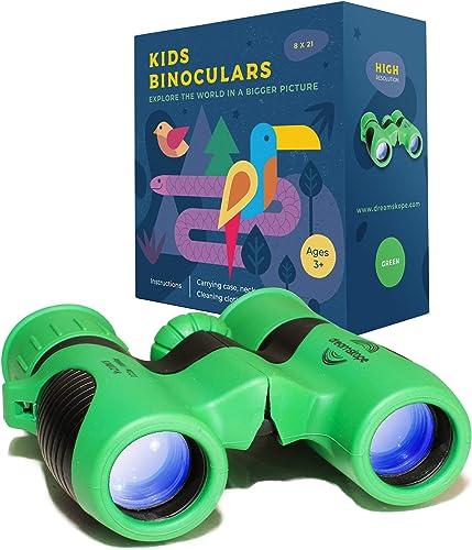 Dreamskope Kids Binoculars Boys and Girls 8×21 Bird Watching – Childrens Toy Binoculars High Resolution 8X Magnification Camping Gear Age 3 4 5 6 7