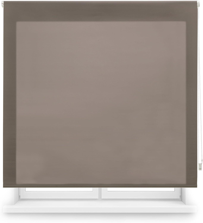 Blindecor Ara - Estor enrollable translúcido liso, Marrón, 160 x 175 cm (ancho x alto)