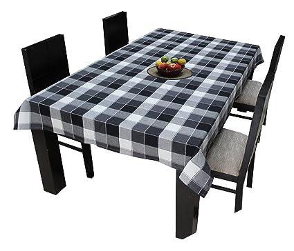 AIRWILL Cotton Jacquard Checks 4/6 Seater Tablecloth, 140x140cm (Multicolour)