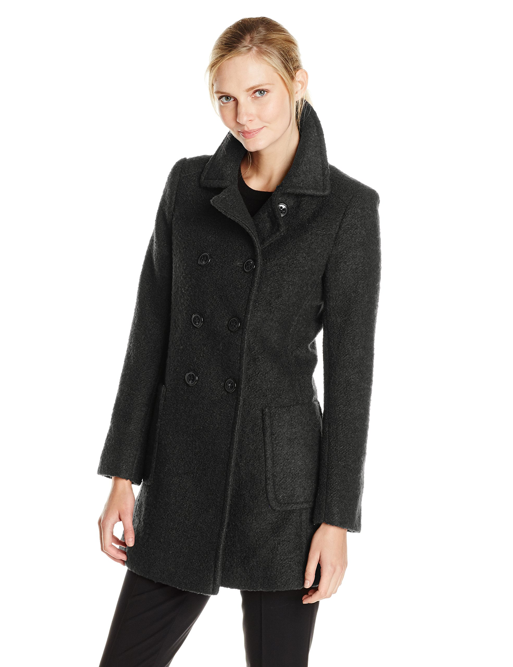 T Tahari Women's Double Breasted Wool Boucle Coat, Black, Small