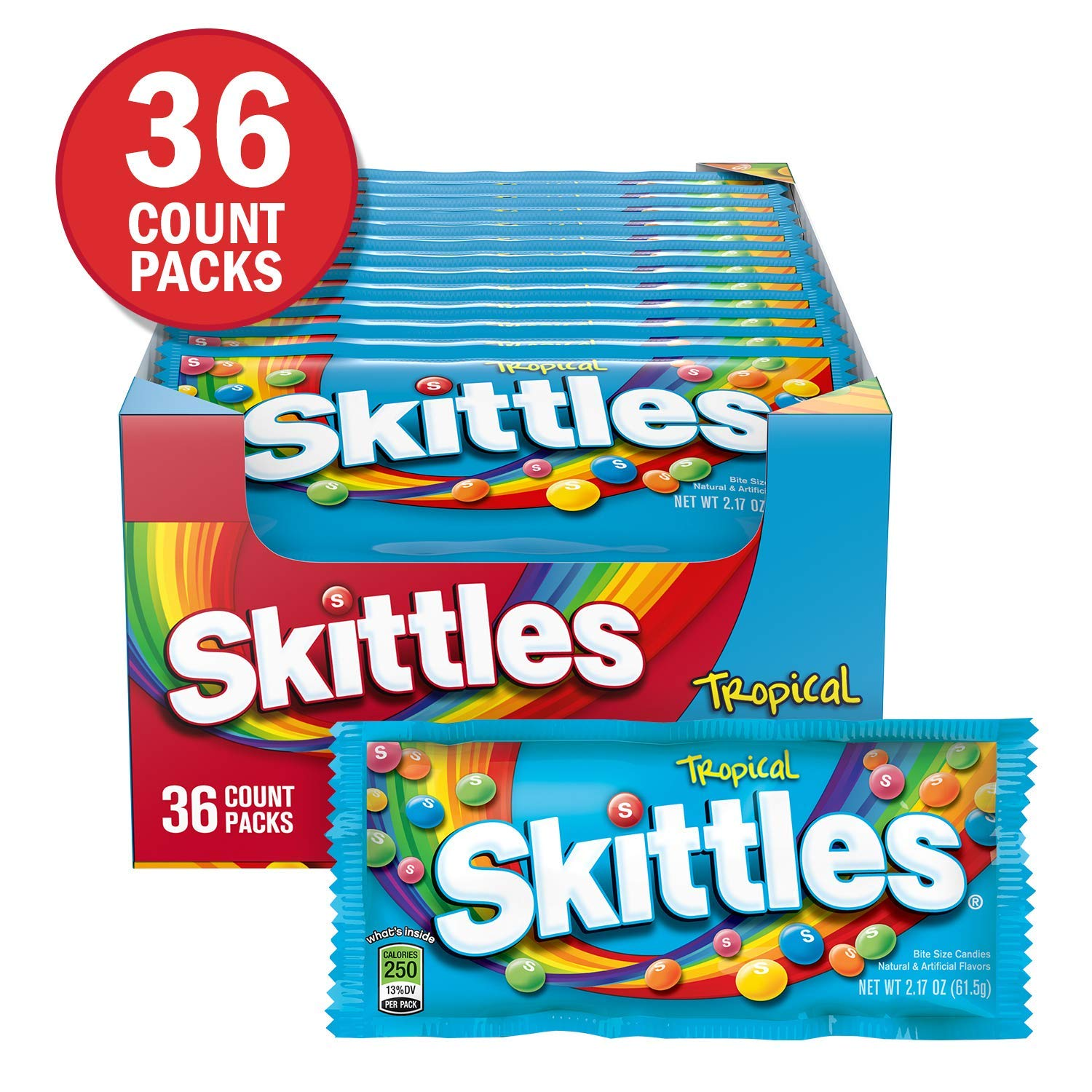 Skittles Tropical Candy, 2.17 Ounce (36 Single Packs)- 2- Pack by Skittles