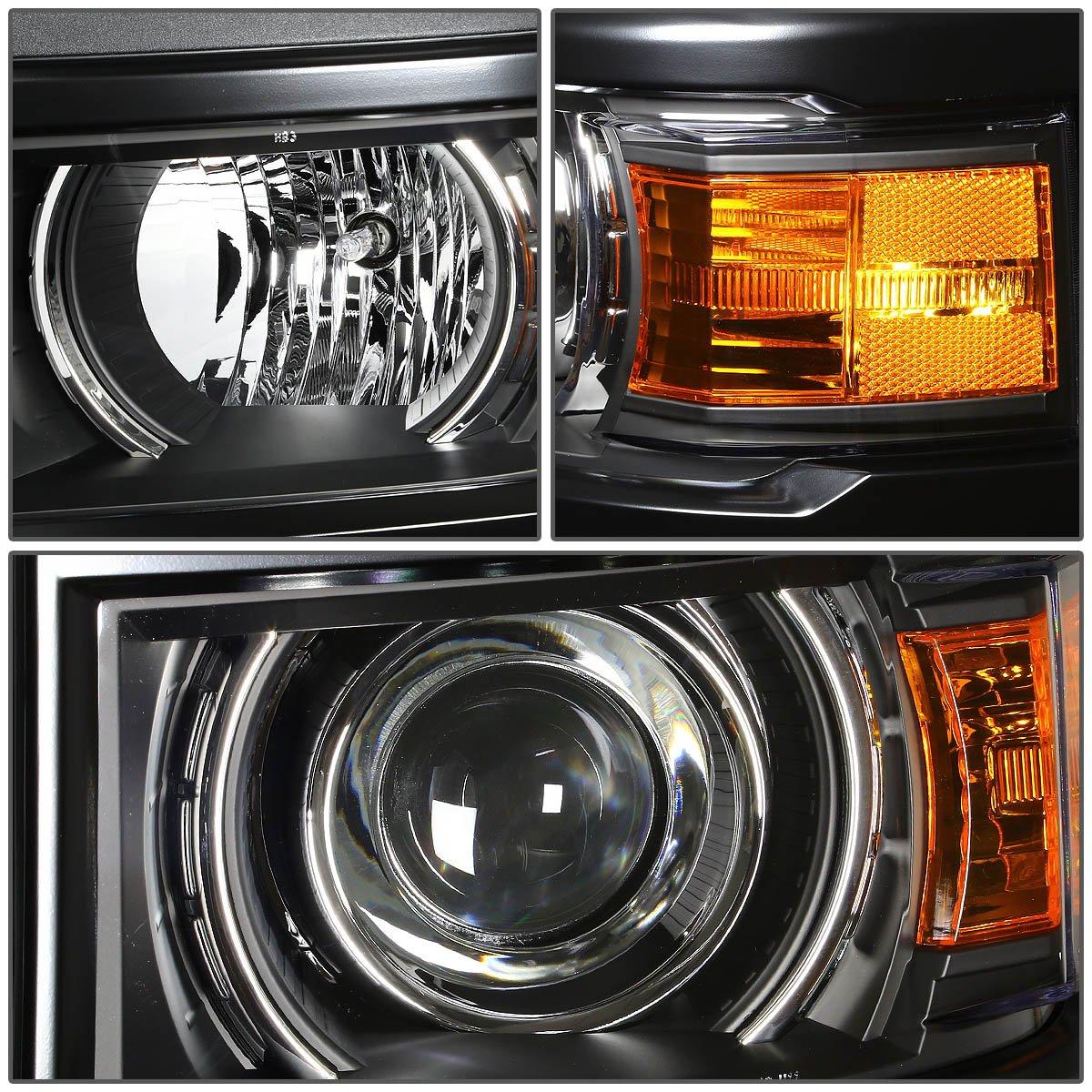 HL-HPL-CSIL14-BK-AM Driver /& Passenger Side DNA Motoring HLHPLCSIL14BKAM Halo Projector Headlight