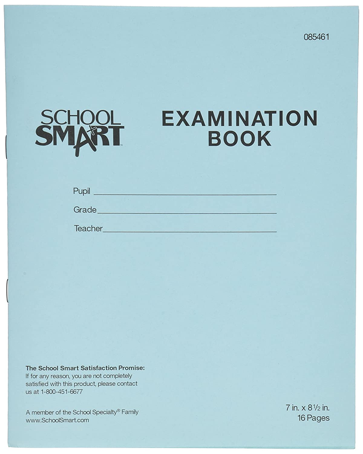 School Smart Ruled Examination Blue Books with Margin - 7 in x 8 1/2 in - Pack of 50, 16 Page Books School Specialty 085461