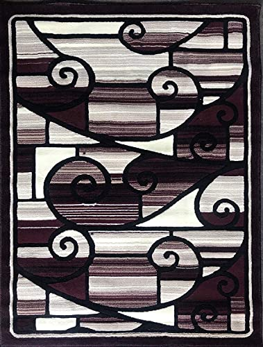 Americana Modern Area Rug Contemporary Burgundy Black Beige Design 110 8 Feet X 10 Feet 6 Inch
