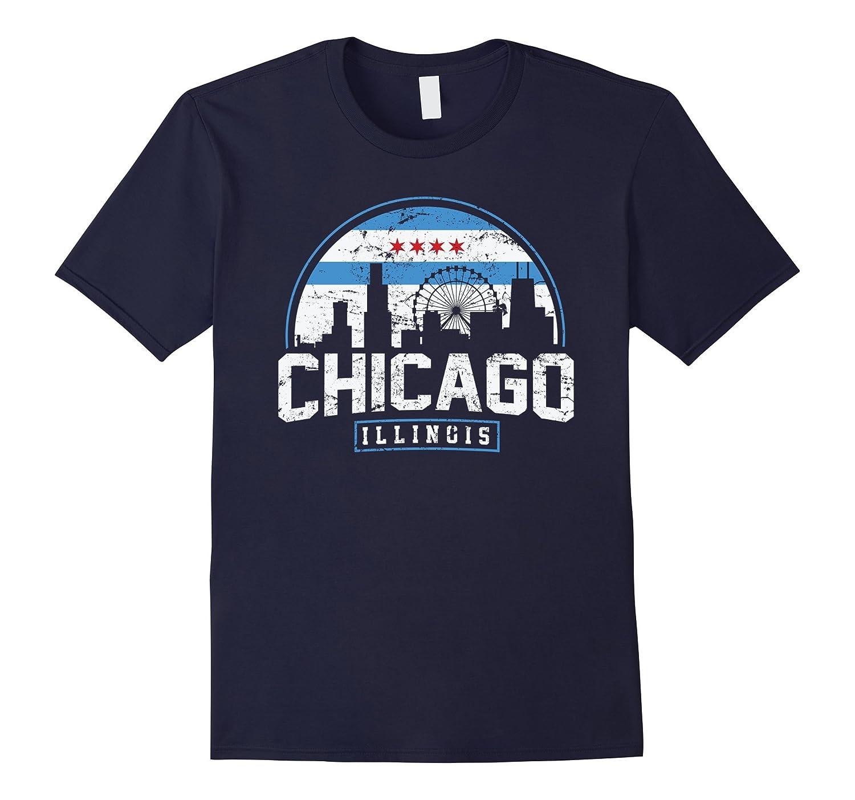 Chicago Skyline Silhouette T Shirt Medium-Awarplus