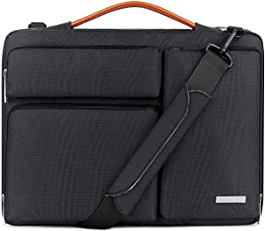 Lacdo 15.6 Inch Laptop Messenger Shoulder Bag, 360° Protective Sleeve Case for 15.6 Inch Acer Aspire 5, 7 E 15, Predator Helios 300, Flagship, Inspiron, Ideapad 330, HP Pavilion, ASUS Notebook, Black
