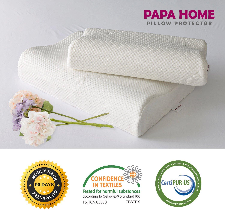 Papahome Tencel Contour Memory Foam Pillow-Tencel Outer/Waterproof Inner Cover, Memory Foam Pillow (Standard)