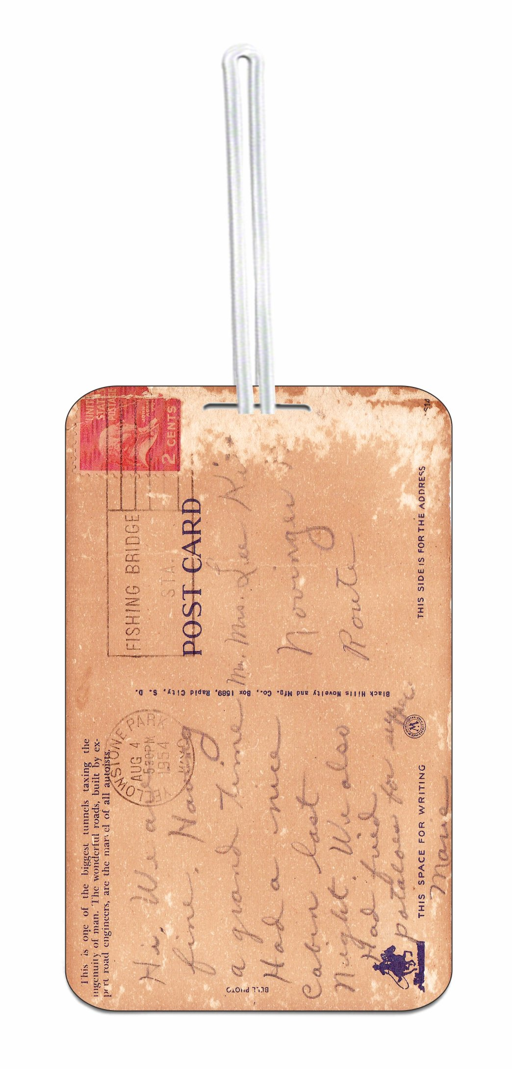 Vintage Style Post Card Hard Plastic Luggage Tag with Personalized Back