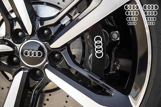 Snstyling Com Aufkleber Passend Für Audi Ringe Bremssattel Felgen Spiegel Fenster Aufkleber 8 Stück 30mm 17mm Weiss Auto