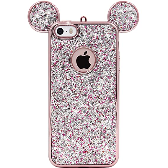 huge selection of 3dfd3 98a78 iPhone SE Case, MC Fashion Super Cute Sparkle Bling Bling Glitter 3D Mickey  Mouse Ears Soft and Protective TPU Rubber Case for iPhone 5/5S/SE (Rose ...