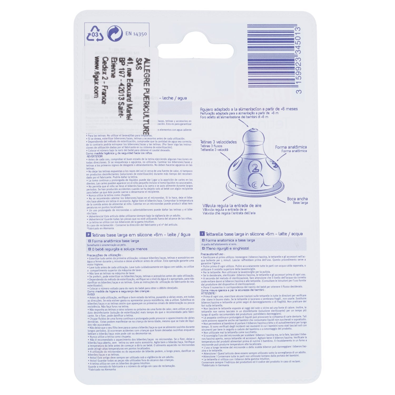 Tigex Air Control - Pack de 2 tetinas de silicona con base ancha, de 0 a 6 meses, color transparente: Amazon.es: Bebé