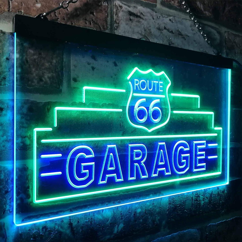 ADV PRO Route 66 Garage Dual Color LED Enseigne Lumineuse Neon Sign Blanc et Bleu 300 x 210mm st6s32-i3308-wb
