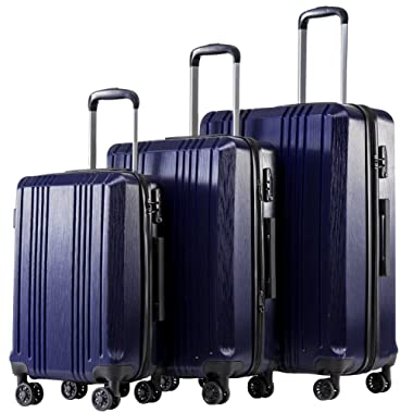 Coolife Luggage Expandable Suitcase 3 Piece Set with TSA Lock Spinner 20in24in28in(navy3)