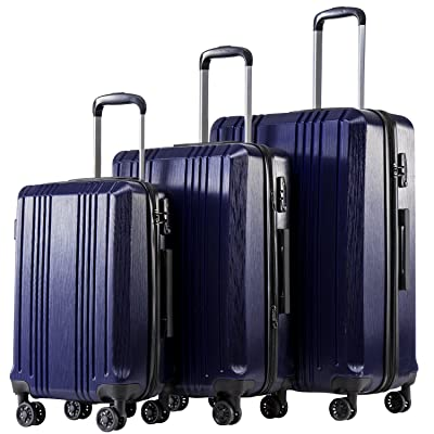 Coolife Luggage Expandable Suitcase PC+ABS 3 Piece Set