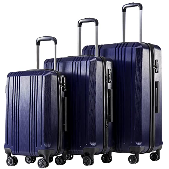 coolife luggage expandable suitcase 3 piece set with tsa lock spinner navy3