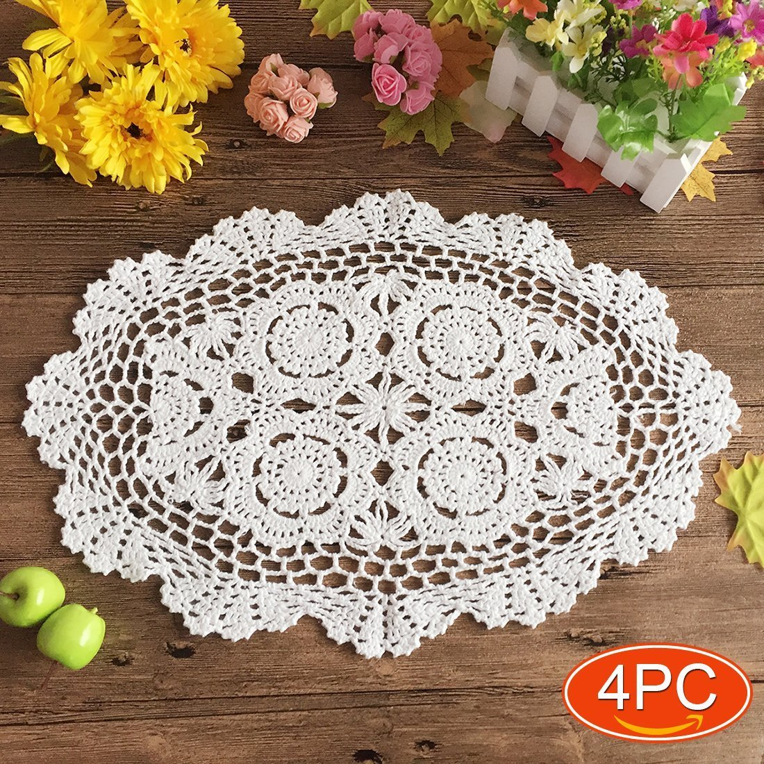 "Elesa Miracle 12 X 18 Inch 4pc Handmade Oval Crochet Cotton Lace Table Placemats Doilies Set, Oval, White (12""x18"" Oval White)"