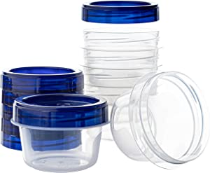 Twist Top Deli Containers Clear bottom With blue Top Twist on Lids Reusable, Stackable, Food Storage Freezer Container (6, 4 OUNCE)
