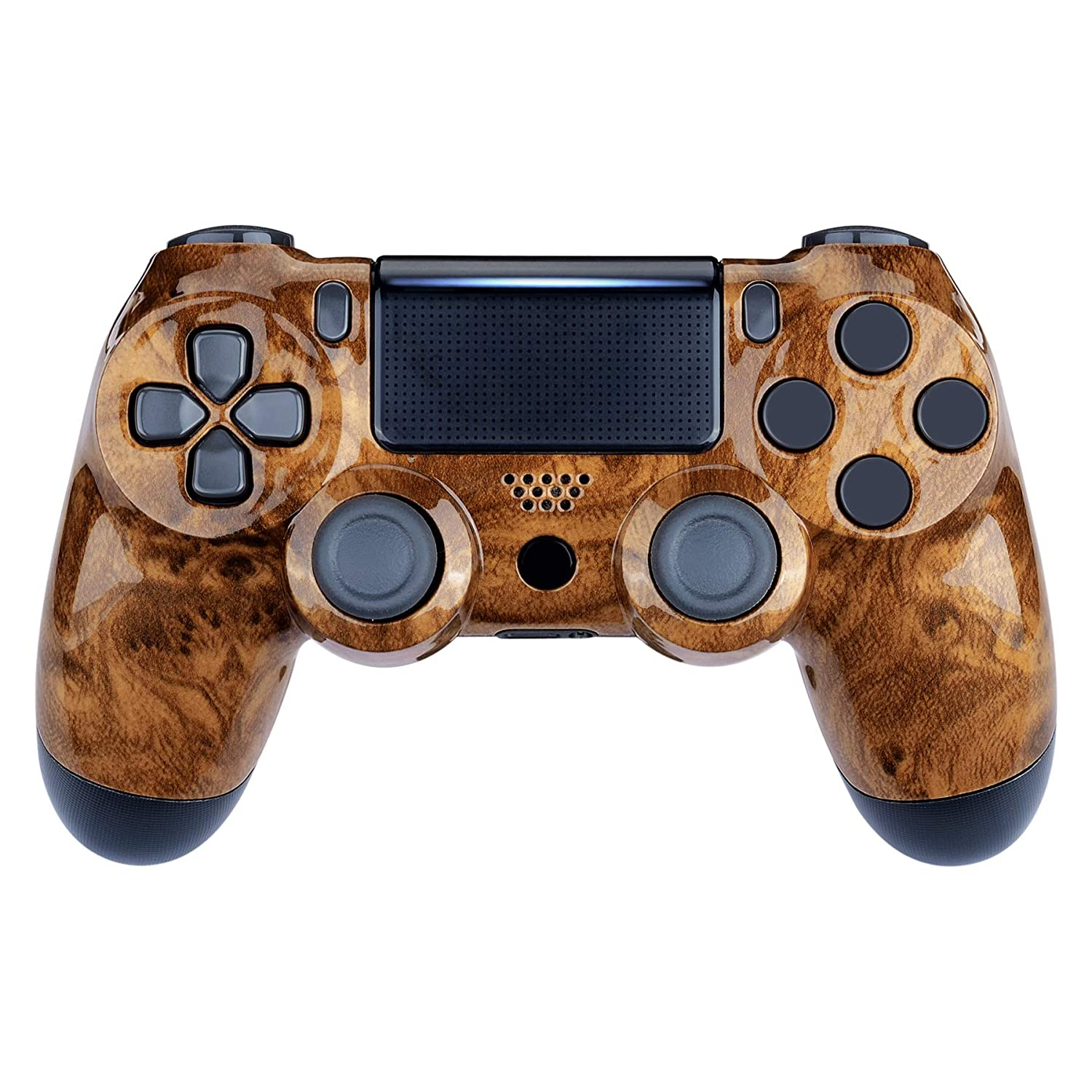 eXtremeRate Bird's Eye Wood Grain Front Housing Shell Faceplate Cover Replacement Kit for Playstation 4 PS4 Slim PS4 Pro Controller (CUH-ZCT2 JDM-040 JDM-050 JDM-055) - Controller NOT Included