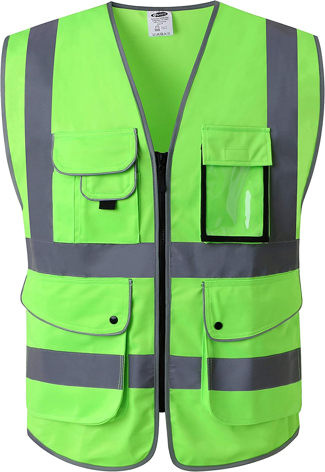 JKSafety 9 Pockets Class 2 High Visibility Zipper Front Safety Vest With Reflective Strips, Meets ANSI/ISEA Standards (Medium, Green)