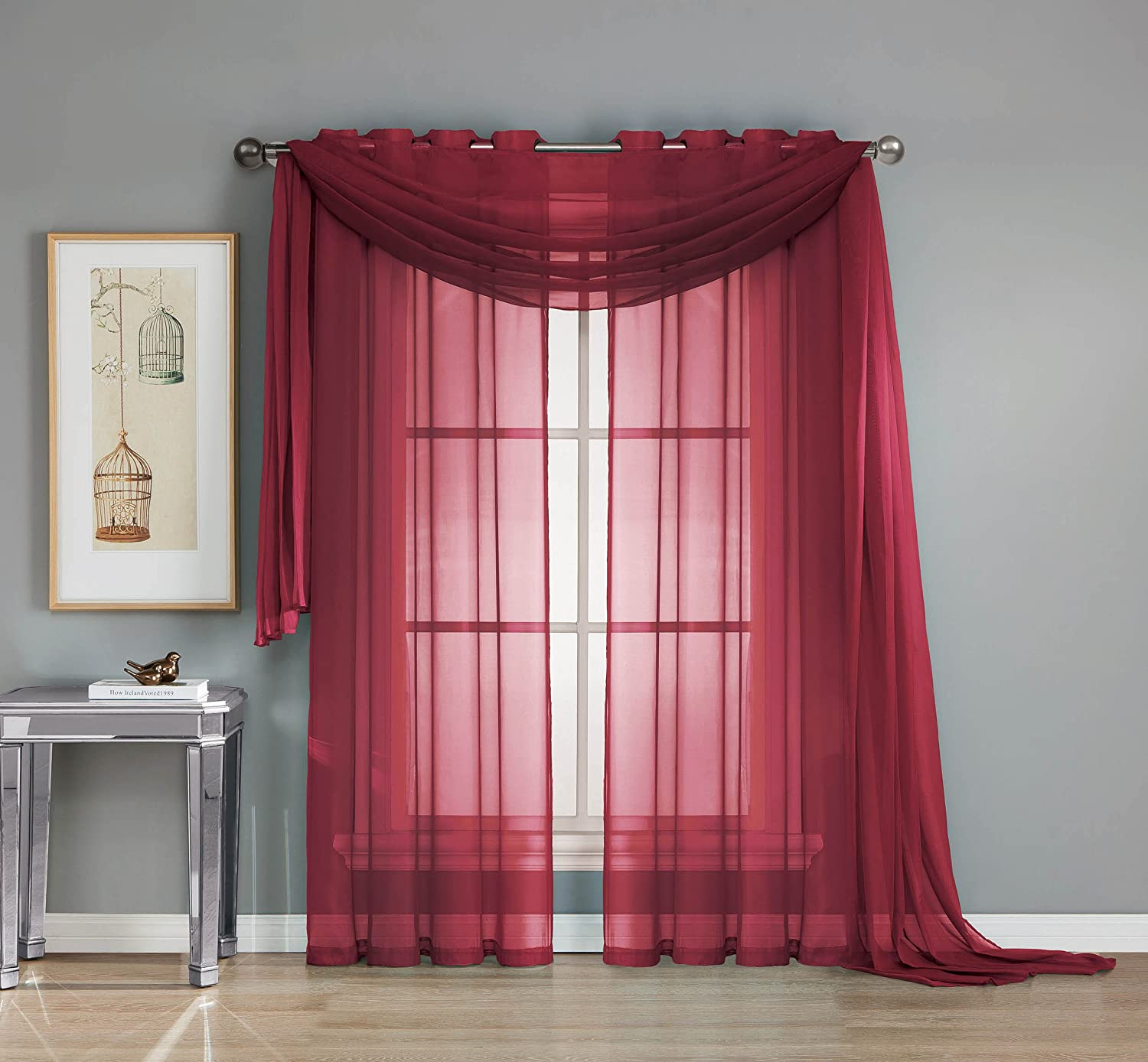 Gold Curtain Panel Window Elements Sheer Voile Grommet Extra Wide 54 x 84 in