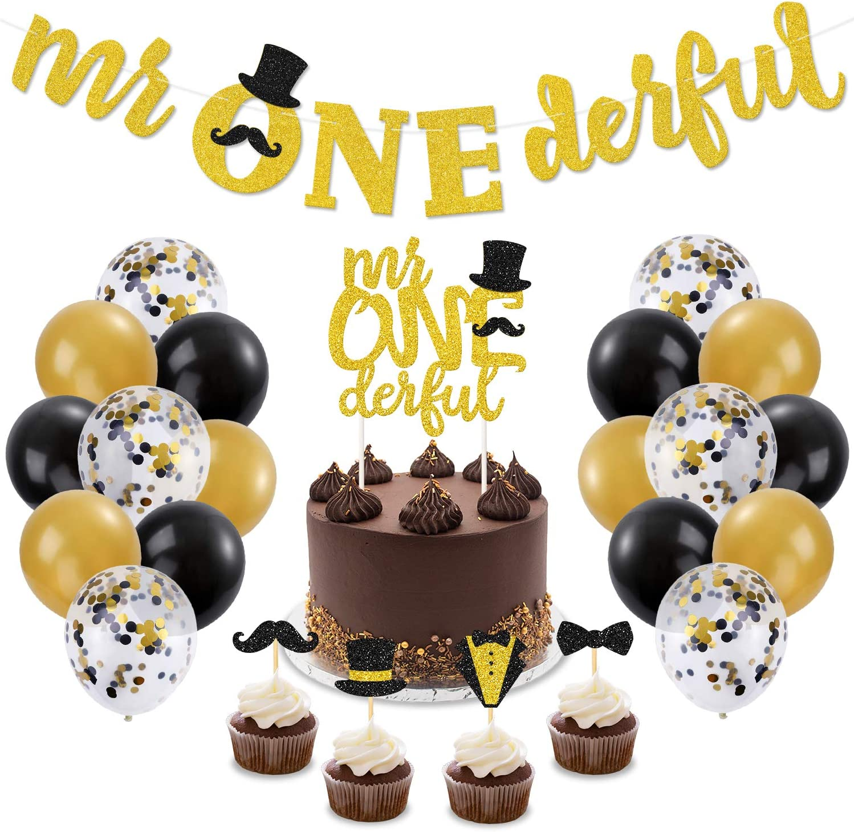 Mr Onederful 1st Birthday Decorations Kit Mr Wonderful Dapper Themed Cake Topper Banner Black & Gold Confetti Balloons for Little Man Baby Shower Bow ...