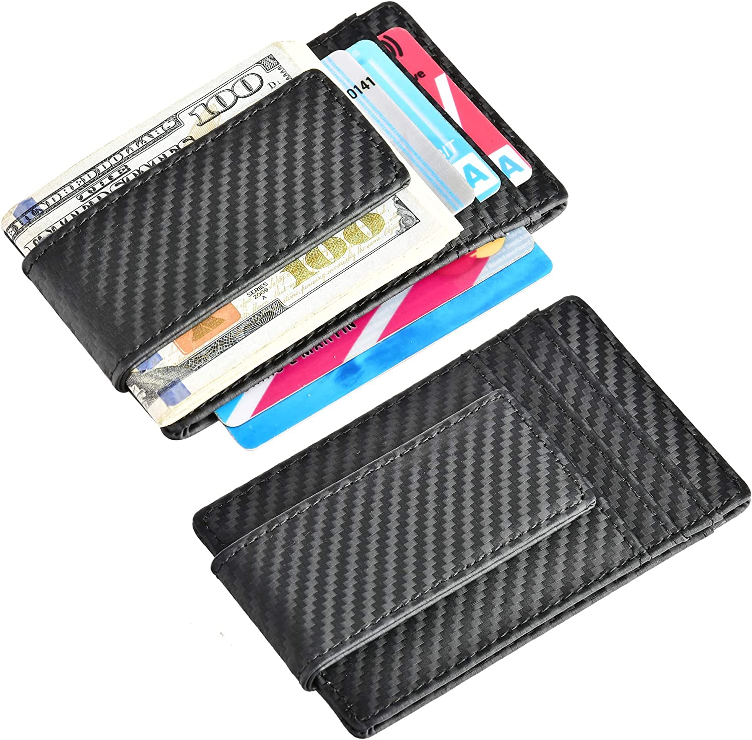 Front Pocket Wallet C Carbon Fiber ID Window 2 Leather RFID Blocking Strong Magnet thin Wallet Money Clip