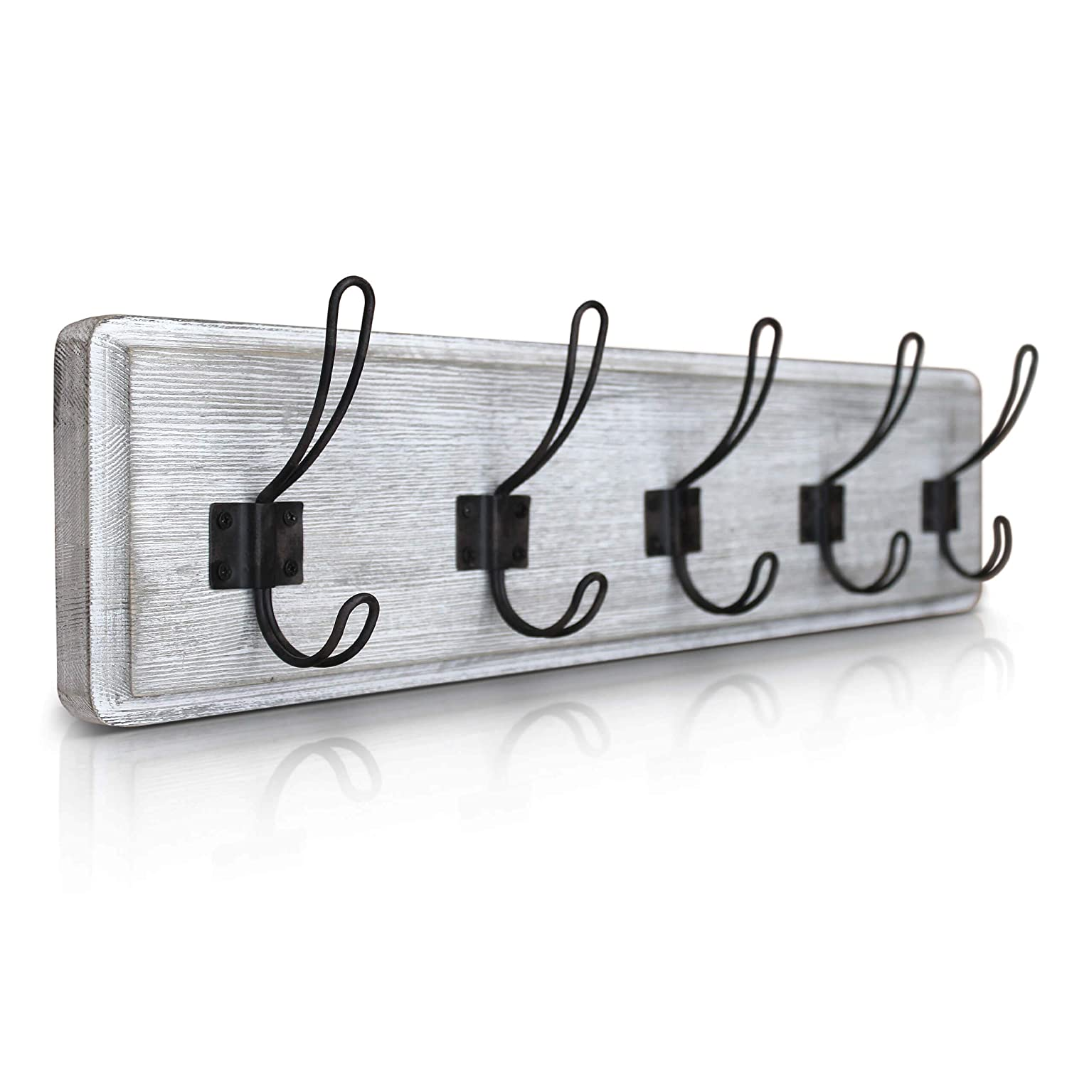 "HBCY Creations Rustic Coat Rack - Wall Mounted Whitewash 24"" Entryway Coat Hooks - 5 Rustic Hooks, Solid Pine Wood. Perfect Touch for Your Entryway, Kitchen, Bathroom. (Whitewash)"