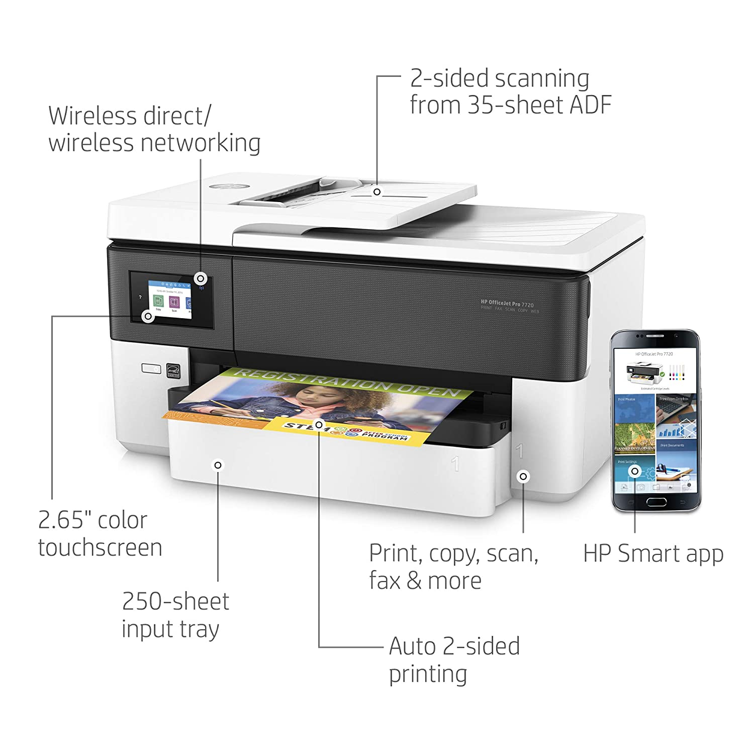 Amazon Com Hp Officejet Pro 7720 All In One Wide Format Printer