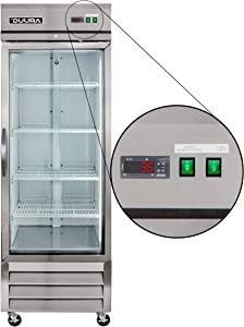 DUURA DVRG1 Stainless Steel 27-inch Single Glass Door Reach-in Commercial Refrigerator with Bottom Mounted Compressor, 23 Cubic feet, Silver