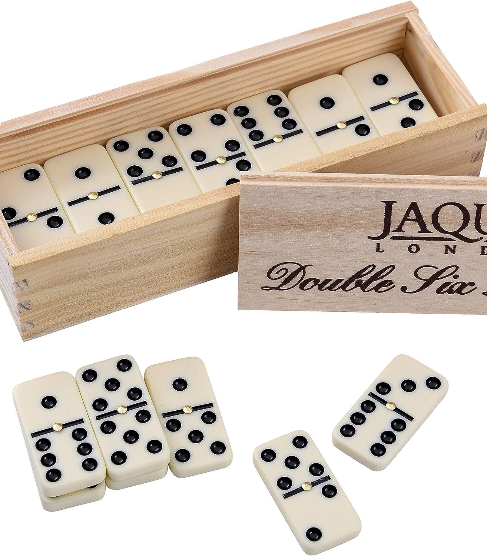 Jaques de Londres Seis dominós Dobles con hilanderos - Presentado en una Caja con Tapa deslizable de Pino: Amazon.es: Juguetes y juegos