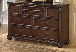 Ashley Furniture Leahlyn Collection Old World Style Warm Brown Finish Bedroom Storage Dresser