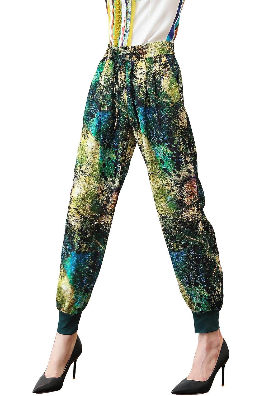 VOA Women's Casual Loose Abstract Print Mid Elastic Waist Harem Pants K2191