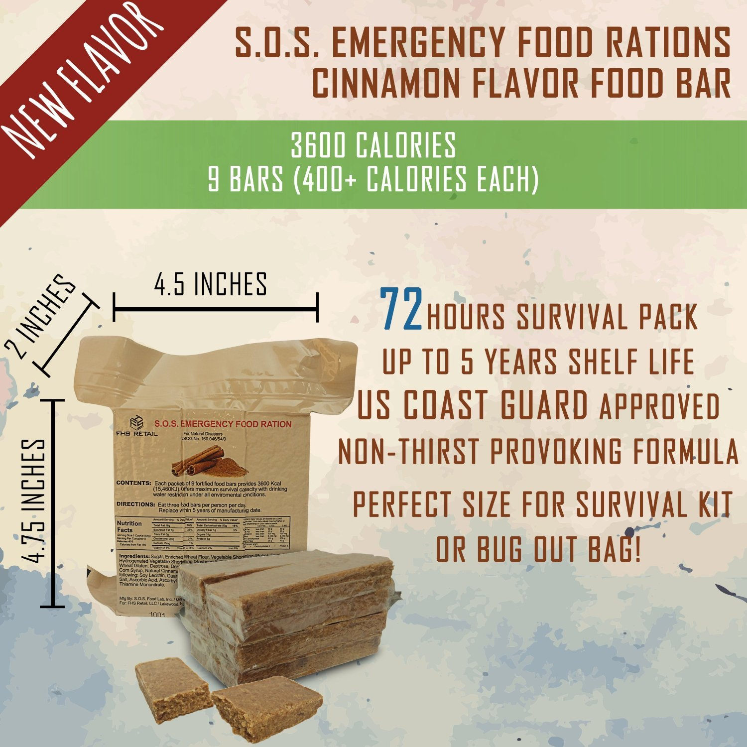 S.O.S. Rations Emergency 3600 Calorie Cinnamon (10 Pack) by SOS Food Labs, Inc. (Image #1)
